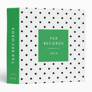 Polka Dot Green Tax Records Binder