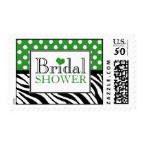 Polka Dot Green Zebra Print Bridal Shower Postage