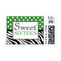 Polka Dot Green Zebra Print Sweet Sixteen Postage
