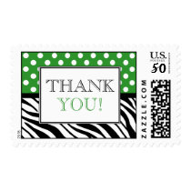 Polka Dot Green Zebra Print Thank You Postage