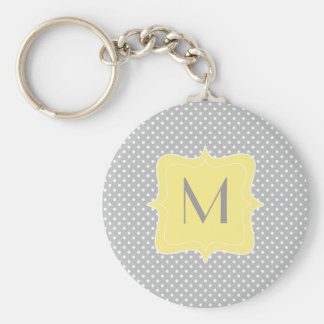 Polka Dot Grey and Yellow Monogram Basic Round Button Keychain
