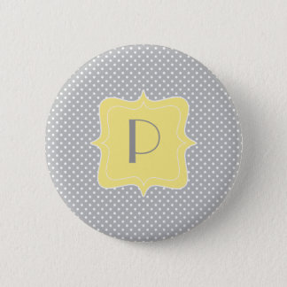 Polka Dot Grey and Yellow Monogram Button