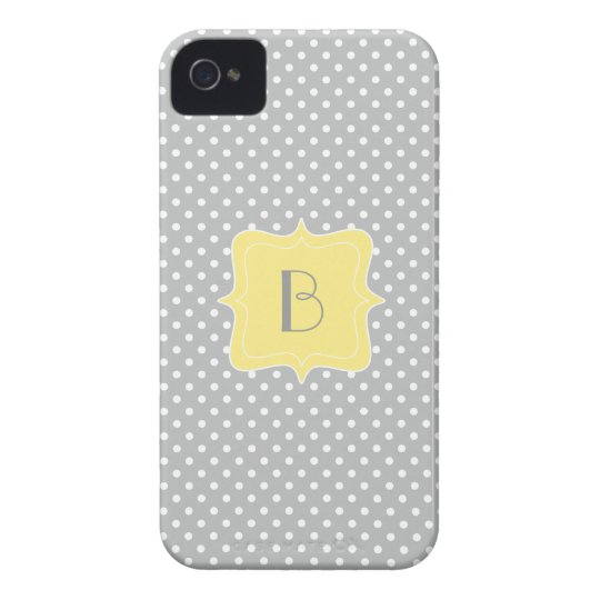 Polka Dot Grey and Yellow Monogram iPhone 4 Case-Mate Case