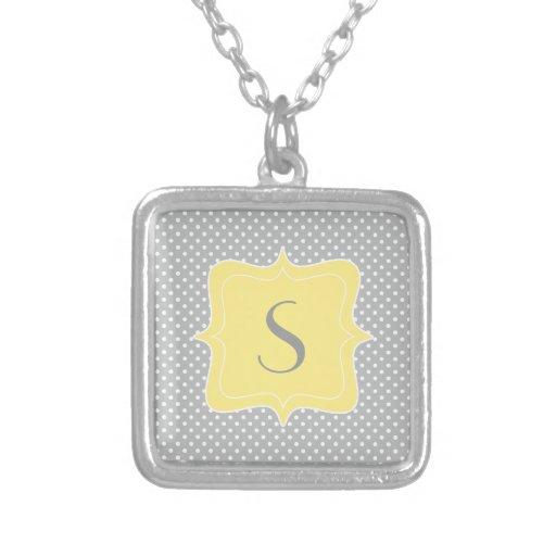 Polka Dot Grey and Yellow Monogram Necklaces