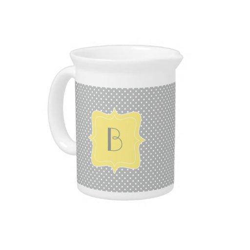 Polka Dot Grey and Yellow Monogram Beverage Pitcher