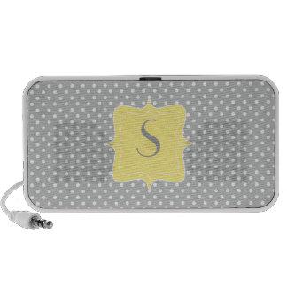 Polka Dot Grey and Yellow Monogram iPod Speakers