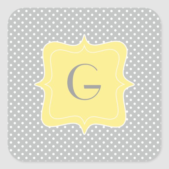 Polka Dot Grey and Yellow Monogram Square Sticker