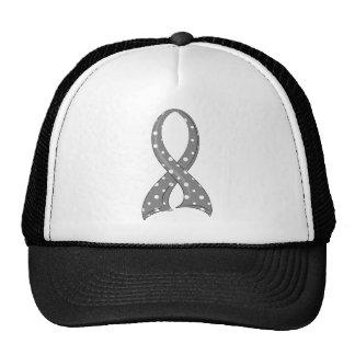 Polka Dot Grey Ribbon Brain Cancer Trucker Hat