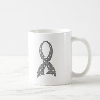Polka Dot Grey Ribbon Juvenile Diabetes Classic White Coffee Mug