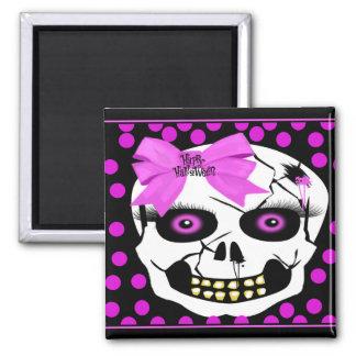 Polka-dot Halloween Girl Scull Fridge Magnet