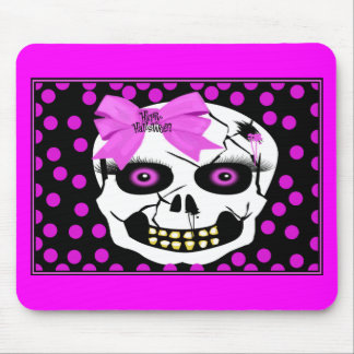 Polka-dot Halloween Girl Scull Mouse Pad