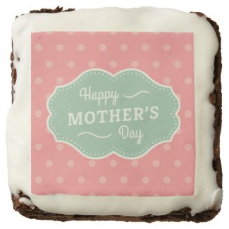 Polka Dot Happy Mother's Day Square Brownie. Chocolate Brownie