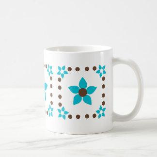 Polka Dot Hawaii Flower Blue Mug