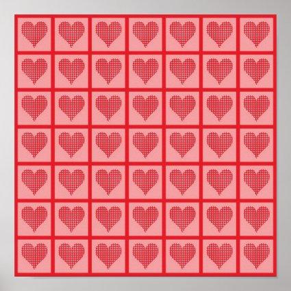 Polka Dot Heart Pattern Posters