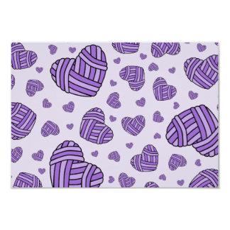 Polka Dot Heart Shaped Balls of Yarn (Purple #2) Card