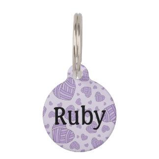 Polka Dot Heart Shaped Balls of Yarn (Purple #2) Pet ID Tags