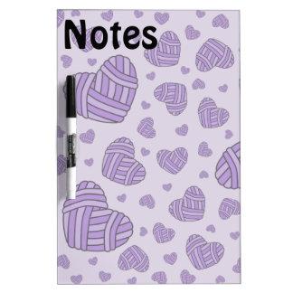 Polka Dot Heart Shaped Balls of Yarn (Purple #2) Dry-Erase Board