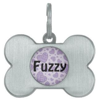 Polka Dot Heart Shaped Balls of Yarn (Purple #2) Pet Name Tags
