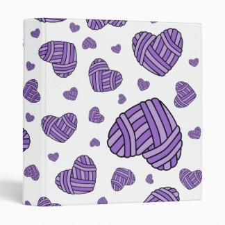 Polka Dot Heart Shaped Balls of Yarn (Purple) Binder