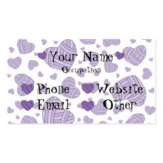Polka Dot Heart Shaped Balls of Yarn (Purple) Business Card Template