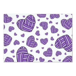Polka Dot Heart Shaped Balls of Yarn (Purple) Card