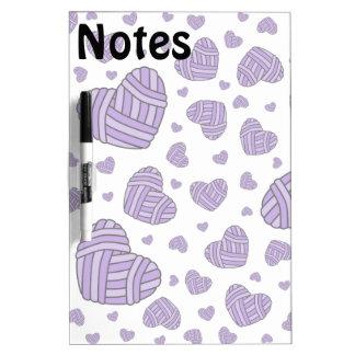 Polka Dot Heart Shaped Balls of Yarn (Purple) Dry-Erase Board