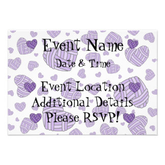 Polka Dot Heart Shaped Balls of Yarn (Purple) Personalized Announcement