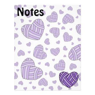 Polka Dot Heart Shaped Balls of Yarn (Purple) Letterhead