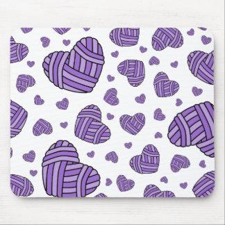 Polka Dot Heart Shaped Balls of Yarn (Purple) Mousepad