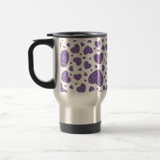 Polka Dot Heart Shaped Balls of Yarn (Purple) Coffee Mugs