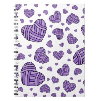 Polka Dot Heart Shaped Balls of Yarn (Purple) Spiral Note Books
