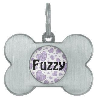 Polka Dot Heart Shaped Balls of Yarn (Purple) Pet Tag