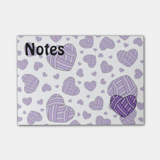 Polka Dot Heart Shaped Balls of Yarn (Purple) Post-it® Notes