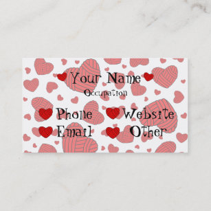 Heart shaped business cards zazzle polka dot heart shaped balls of yarn red business card colourmoves