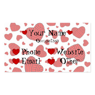 Polka Dot Heart Shaped Balls of Yarn (Red) Business Cards