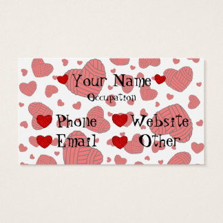 Polka Dot Heart Shaped Balls of Yarn (Red) Business Card