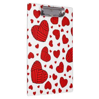 Polka Dot Heart Shaped Balls of Yarn (Red) Clipboards