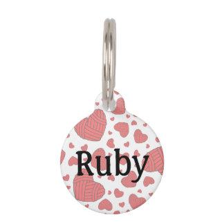 Polka Dot Heart Shaped Balls of Yarn (Red) Pet Nametag