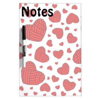 Polka Dot Heart Shaped Balls of Yarn (Red) Dry-Erase Board