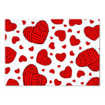 Polka Dot Heart Shaped Balls of Yarn (Red) Custom Invites