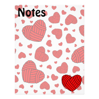 Polka Dot Heart Shaped Balls of Yarn (Red) Customized Letterhead