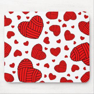 Polka Dot Heart Shaped Balls of Yarn (Red) Mousepads