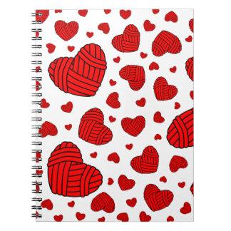 Polka Dot Heart Shaped Balls of Yarn (Red) Note Books