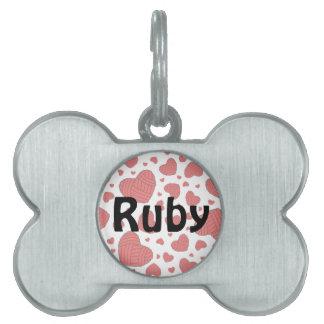 Polka Dot Heart Shaped Balls of Yarn (Red) Pet Name Tags