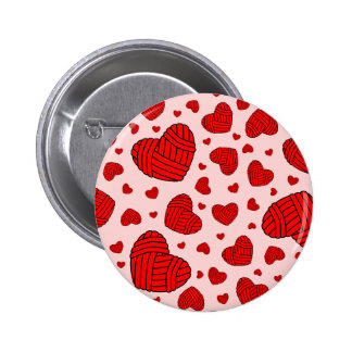 Polka Dot Heart Shaped Balls of Yarn (Red & Pink) 2 Inch Round Button