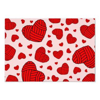 Polka Dot Heart Shaped Balls of Yarn (Red & Pink) Card