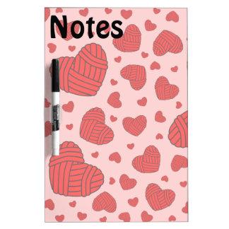 Polka Dot Heart Shaped Balls of Yarn (Red & Pink) Dry-Erase Whiteboard