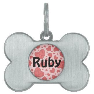 Polka Dot Heart Shaped Balls of Yarn (Red & Pink) Pet Name Tag