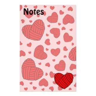 Polka Dot Heart Shaped Balls of Yarn (Red & Pink) Personalized Stationery