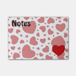 Polka Dot Heart Shaped Balls of Yarn (Red) Post-it® Notes